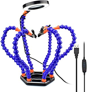 HEEGNPD Third Hand Soldering PCB Holder Tool Six Arms Helping Hands Craft Repair Helping Post Welding USB LED Magnifier