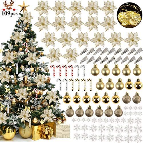 ZOYLINK Ornamento di Albero di Natale, 109PCS Fiori di Natale Artificiali Glitterati con Palla Decorativa Fiocchi Neve Piccole Stampelle Clip Lucine Led per Decorazioni Natalizie per Feste