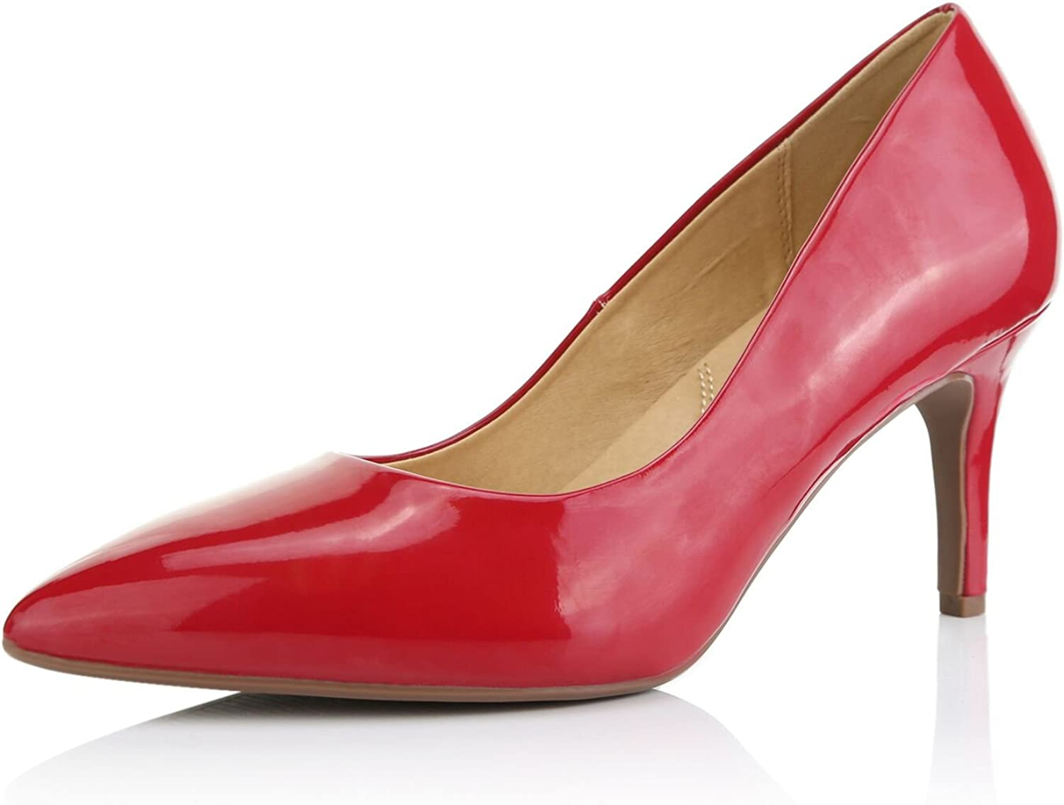 Dailyshoes Women's Comfortable Elegant high Cushioned Low Heels Pointy Close Toe Stiletto Pumps shoes, Red Patent Leather, 6 B(M) US