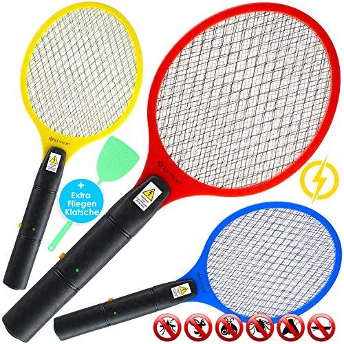 Kesser® 3X elektrische Fliegenklatsche Fliegenfänger Insektenvernichter Insektenfalle elektrisch - doppeltes Sicherheitsschutzgitter, ohne chemische Stoffe, gegen Fliegen, Mücken & Moskitos, Bunt