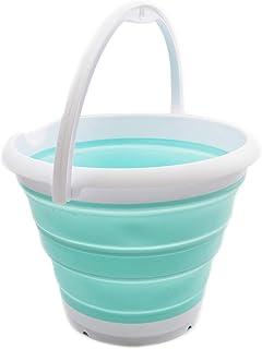 SAMMART Seau de pêche pliable de 10 l – Seau rond pliable – Seau à eau portable en plastique – Économie d'espace pour l'ex...