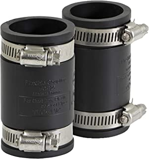 EVERCONNECT 4822x2 Flexible Pvc Coupling with Stainless Steel Clamps 1 inch Black (pack of 2)