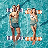 Inflatable Pool Floats, Pool Loungers and Floats for Adults Kid with Bonus Air Pump, 2 Pack Multi-Purpose Pool Float, River Lake Floats for Adults Heavy Duty, Portable Water Rafts for Pool,Blue,Orange