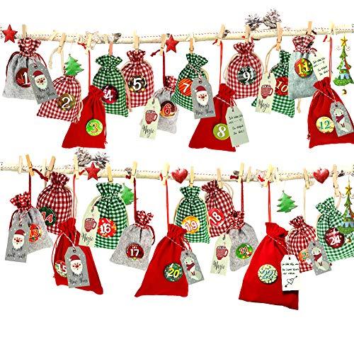 Adventskalender zum Befüllen, Weihnachtskalender Stoffsäckchen zum Selberfüllen, 24 Geschenksäckchen Kette zum selber befüllbar und Aufhängen, Jutesäckchen Jute Beutel, Kalender Schnur, Zahlen Buttons