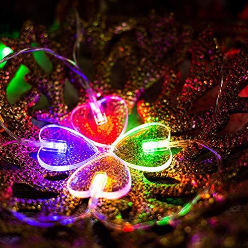 Luz colgante LED en forma de corazón, 1,5 m, 10 luces LED de decoración, funciona con pilas, para el día de San Valentín, para el dormitorio, boda, fiesta interior (multicolor)