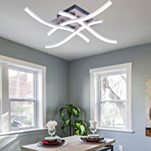Wowlela LED Plafondlamp, Kroonluchter Lamp Modern Gebogen Design Plafondlamp met 4 STUKS Gegolfd Licht voor Woonkamer Slaa...