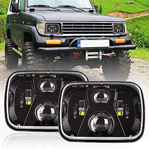 DOT 110W Rectangular Sealed High Low Beam 5x7 7x6 Inch LED Headlights Compatible with Jeep Wrangler YJ Cherokee XJ Comanche MJ GMC Savana Safari Ford Replacement H6014 H6052 H6054 Black