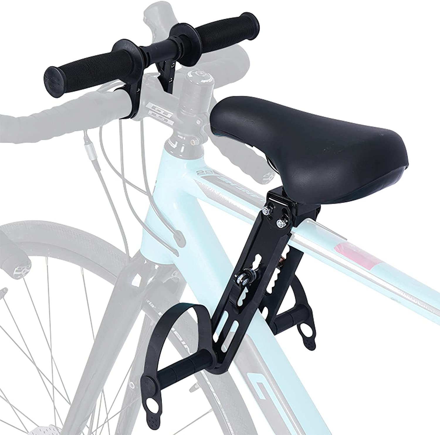 SWAUSWAUK Kids Bike Seat with Handlebar Attachment, Bike Accessories for Adult Bikes, Front Mounted Bicycle Seats for Children 2-5 Years (Up to 48 lbs), Compatible with All Adult Mountain Bikes