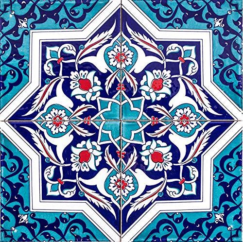 Mehtap – Piastrelle da parete turche colorate, 1 confezione (4 pezzi), piastrelle in ceramica con motivo, 20 x 20, ideale per cucina o bagno, rustico