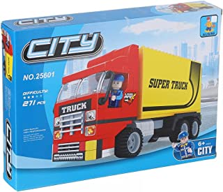Ausini City Truck Construction Toy For Kids, 271 Pieces - Red and Yellow