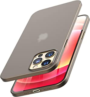 TOZO Compatible for iPhone 12 and iPhone 12 Pro Case 6.1 inch Ultra Thin Hard Cover 0.35mm World's Thinnest Protect Bumper Slim Fit Shell Semi Transparent Lightweight with Matte Finish Black