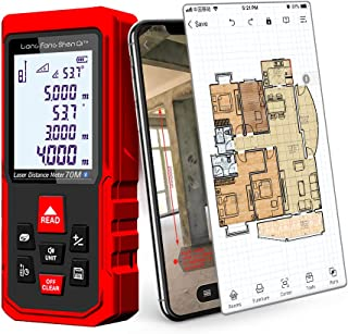 LiangFangShenQi Laser Measure, 230ft/70m, Bluetooth Laser Distance Meter, Backlit Display, Red, KC-B70 Laser Measuring Device with Floor Plan APP for Android & iOS (Standard)