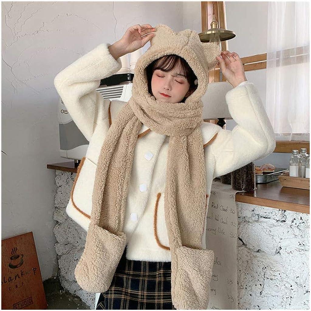 3 in 1 Funny Plush Hat Women Fluffy Plush Warm Hat Cap Cat Ears Hooded Scarf Animal Ear Flap Hat Gloves Mittens