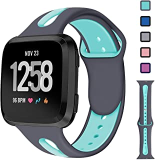 Lintelek Sports Silicone Bands Compatible with Fitbit Versa/Versa Lite/SE Bands, Stylish Breathable Replacement Strap for Women Man, Wristbands Compatible with Versa Smart Watch