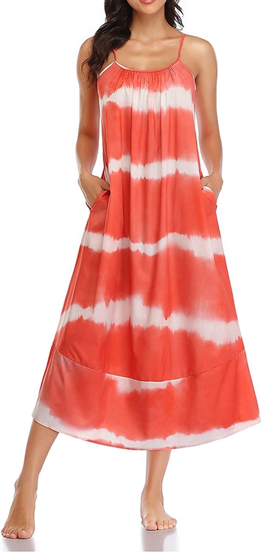 FAROOT Women's Boho Beach Dress Printing Tube Top Backless Spaghetti Strap Sleeveless Long Beach Maxi Dress with Pockets