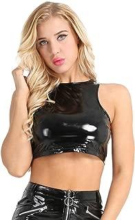 Women's Faux Leather Sleeveless Crop Tank Top Clubwear Bustier Sleeveless Blouse