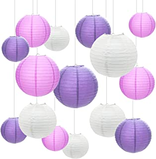 Paper Lanterns,15 Pcs 6'' 8'' 10'' Round Chinese Paper Lanterns Hanging Decorations with Assorted Sizes for Birthday Bridal Wedding Baby Shower Home Party Decorations by GoFriend