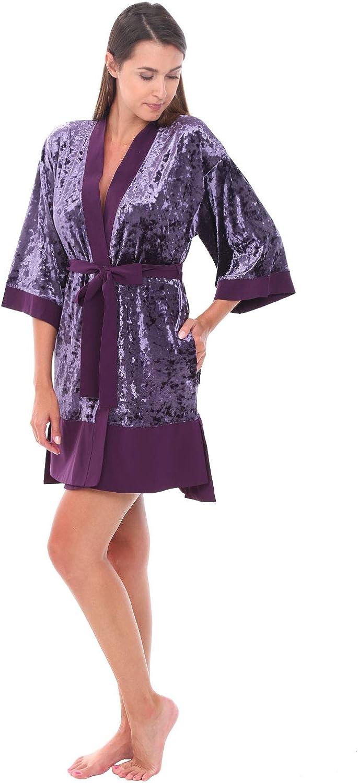 Alexander Del Rossa Womens Short Fleece Kimono Robe, Bathrobe with Trim