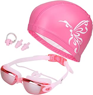 5 in 1 Swimming Goggles + Swim Cap + Nose Clip + Ear...