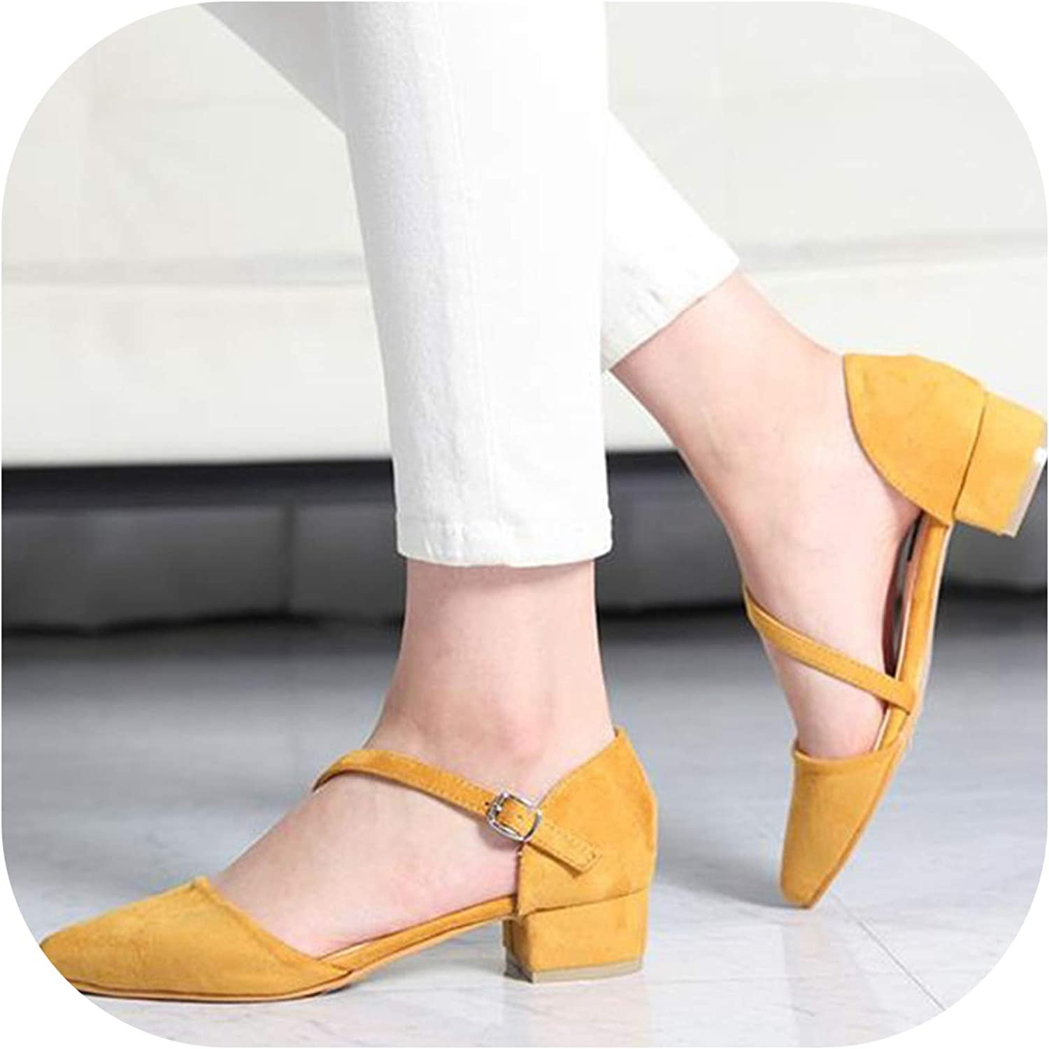 Alerghrg 3cm Low-Heeled Pointed Toe Pumps Footwear Buckle Sandals Yellow Black Khaki Wine Red d1038
