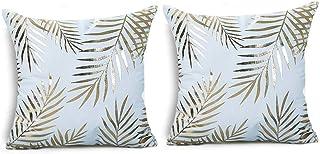 Lovelegis 2 Fundas de Almohada Almohada Cuadrada - 44 x 44 cm - Almohada Decorativa - Lino - sofá - Cama - hogar - Dormitorio - Muebles - fantasía - Hojas de Palma - Hojas - Estampado Dorado - Blanco
