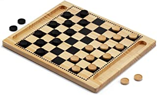 2-in-1 Wooden Checkers & Tic-Tac-Toe Board Game Set with Wooden Checkers Pieces