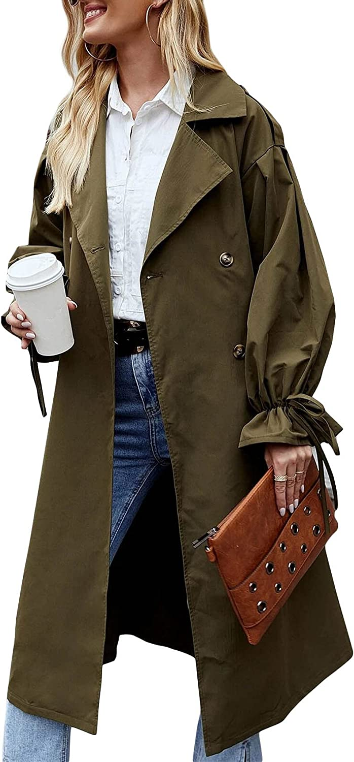 Women's Double Breasted Long Max 62% OFF Trench Louisville-Jefferson County Mall C Coat Windproof Puff Sleeve