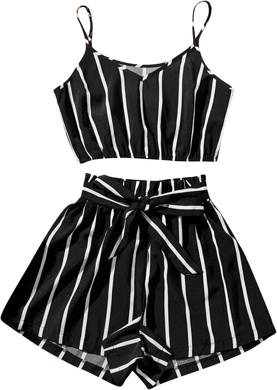 MakeMeChic Women's Plus Size Scallop Trim Cami Crop Top & Striped Belted Shorts 2 Piece Set