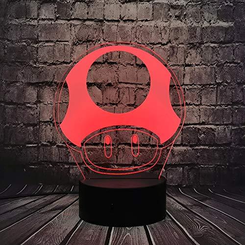 Lámpara de mesa LED con diseño de cómic de seta Super Mario cómic, 3D, ilusión óptica, bros, diseño de dibujos animados
