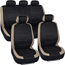 BDK Venice Series Car Seat Covers for Auto - Beige Stripes on Flat Black Cloth - Universal Fit 9 Piece