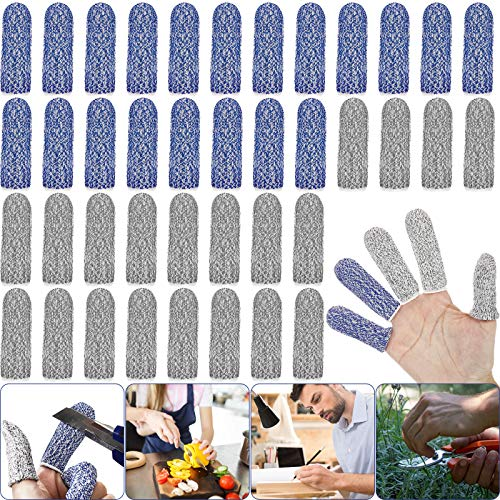 40 Pieces Finger Cots Thumb Protector Anti-Cut Fingertips Finger Sleeve Blue Grey Flexible Resistant Protection Finger Cots for Work, Kitchen, Carving, Picking, DIY