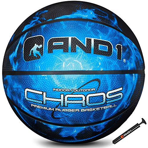 AND1 Chaos Rubber Basketball: Deflated w/Pump Included Game Ready Official Regulation Size Black Hole