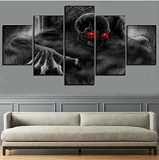 WANGJRU Home Decoration Paintings On Canvas Hd Printed Wall Art 5 Pieces Skull Monster Modular Pictures Living Room Modern Artwork@Yk20X35X2 20X45X2 20X55Cm