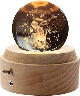 オルゴール 星の王子さま「第2世代」 記念日 プレゼント バレンタインデー 誕生日 ギフト クリスマスプレゼント 月のランプ クリスタル ボール ベッドサイドランプ LEDライト USB充電 超長照明時間12-15時間 おしゃれ 木製 手作り結...
