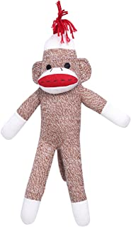 HollyHOME Sock Monkey Knitted Toy Stuffed Animal Plush Doll Gift 17.5 Inches Brown