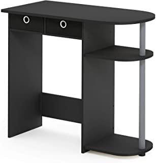 Furinno Go Green Home Laptop Notebook Computer Desk/Table, With 2 Bin Drawers, Black/Grey/Black