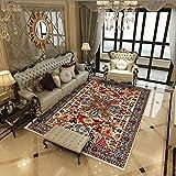 qijidzswyxgs lfombra Estilo Oriental Alfombra clásica de Diamantes Retro Multicolor Adecuado para salón baño sofá Silla cojín 100x160CM