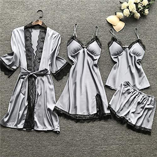 XUHRA zomer pyjama's, Plus Size 3XL 2019 dames pyjama sets satijn nachtkleding zijde 4 stuks nachtkleding pyjama strap kanten slaap lounge pyjama