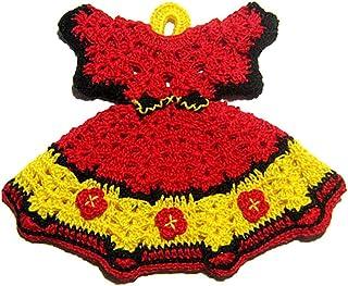 Agarradera roja y amarilla en forma de vestido de ganchillo - Tamaño: 17 cm x 14 cm H - Handmade - ITALY