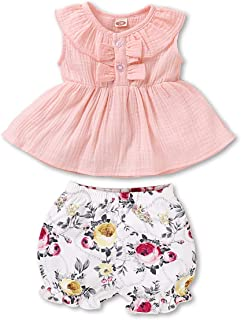 Toddler Baby Girl Clothes Cotton Linen Outfits Sleeveless Tops Floral Pants Baby Girl Summer Outfits Set