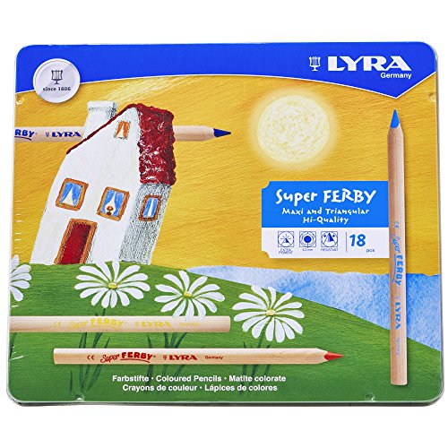 LYRA Super Ferby Giant Triangular Colored Pencil, Unlacquered, 6.25 Millimeter Cores, Assorted Colors, 18-Pack (3711180)