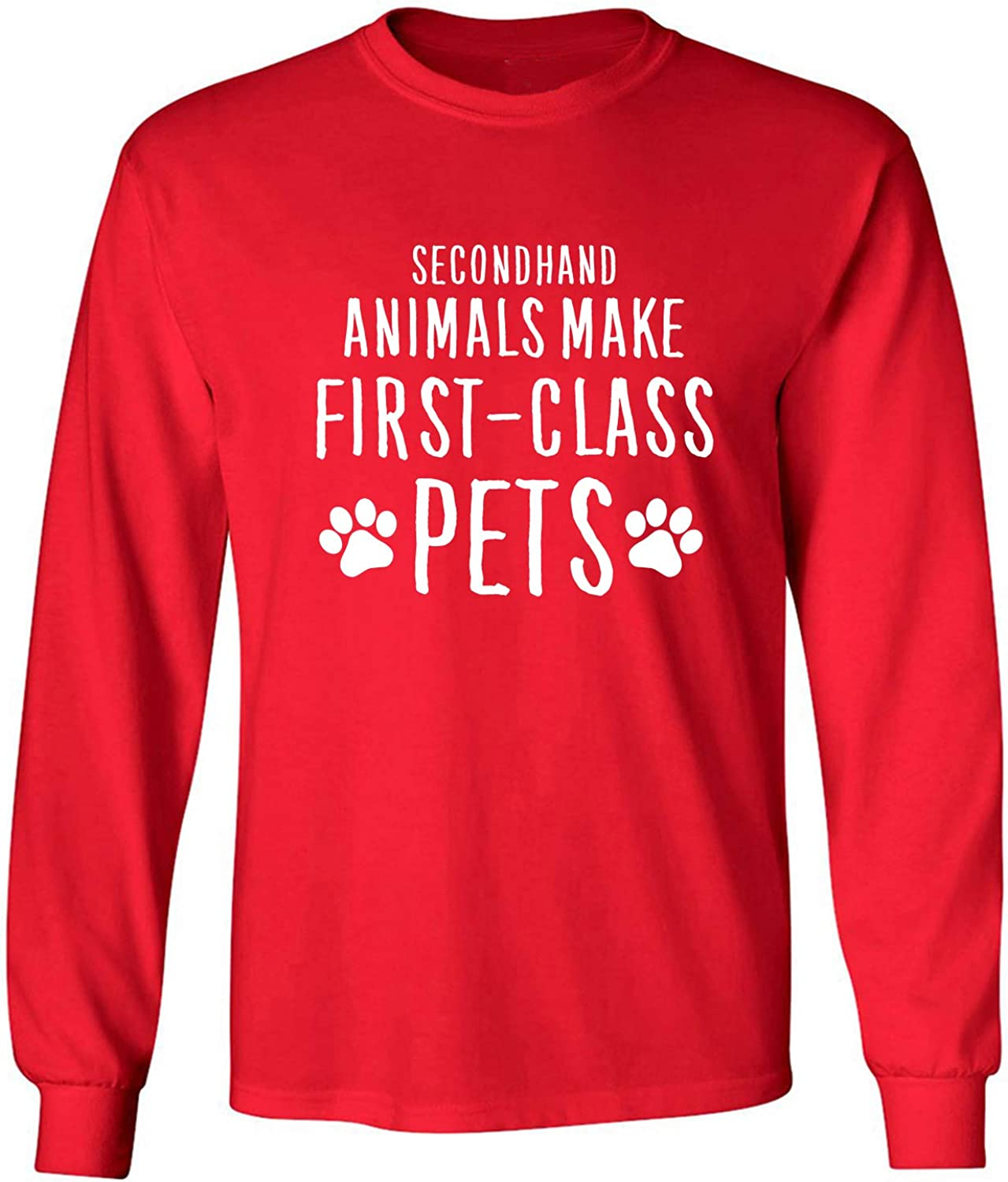 Secondhand Animals Adult Long Sleeve T-Shirt in Red - XXXXX-Large