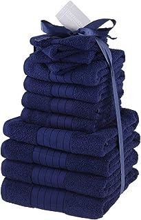 Brentfords Luxury Towels Bale Set 100% Cotton Large Soft Bath Hand Face 12 Piece - Navy