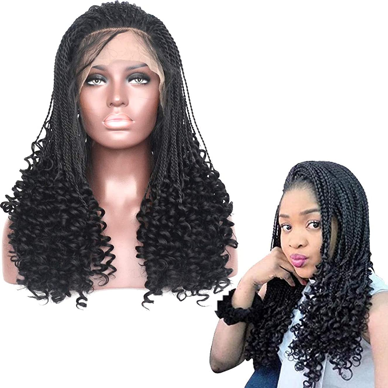 BLUPLE Micro Twist Braids With Curly End Lace Front Wig #1B Natural Black Braiding Styles Cornrows Half Braided Wigs Synthetic African Hair for Black Women with Baby Hair (24 inches, Twist Braided Cur