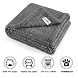 furrybaby Premium Fluffy Fleece Dog Blanket, Soft and Warm Pet Throw for Dogs & Cats (Medium (3240'), Grey Blanket)
