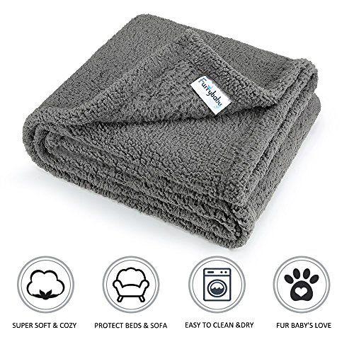 furrybaby Premium Fluffy Fleece Dog Blanket, Soft and Warm Pet Throw for Dogs & Cats (Medium (3240'), Grey Blanket)