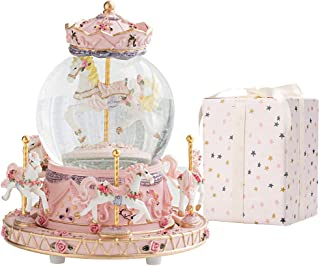 LOVE FOR YOU Carousel Horse Music Box Color Changing LED Lights Musical Snow Globes Unicorn for Women Kids Baby Girls mom ...
