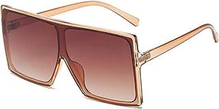 TYOLOMZ - TYOLOMZ Gafas De Sol Cuadradas Siamesas para Mujer, Lentes De Océano Transparentes, Gafas De Sol Vintage para Hombre, Uv400