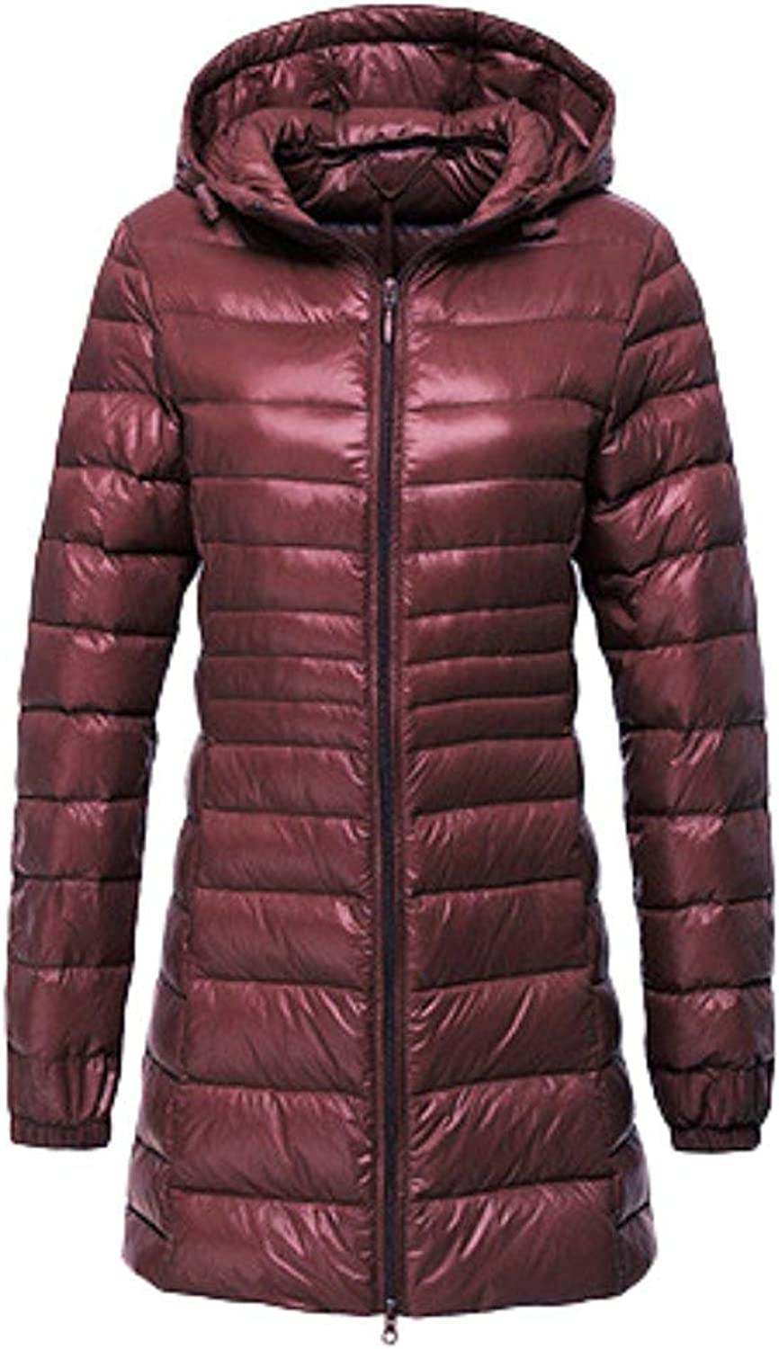 Oudan Women's Down Jacket Quilted Jacket Ultra Lightweight Hooded Jacket Long Down Coat SXXL (color   Dark red, Size   XL)