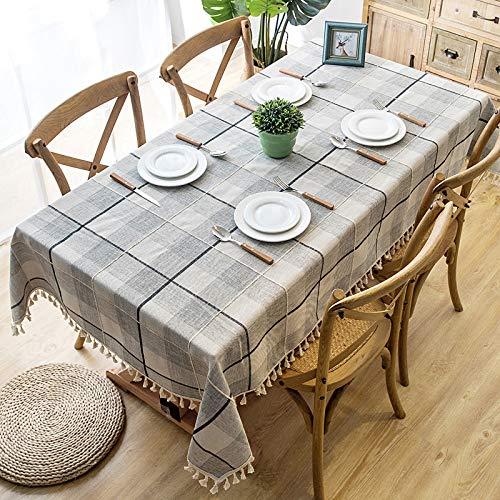 DJUX Tovaglia per Decorazioni per la casa Nordic Impermeabile Reticolo Imitazione Cotone e Lino Rettangolare Tavolo da Pranzo tavolino tovaglia tovaglia